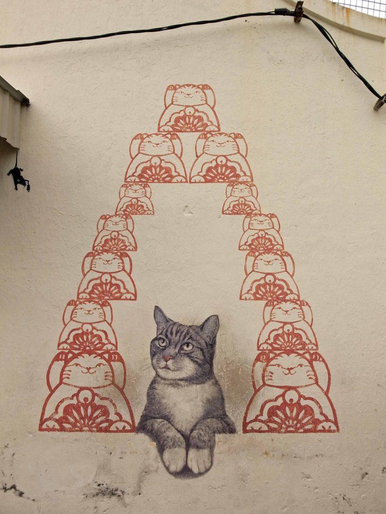 ペナンの壁画「幸運の猫」