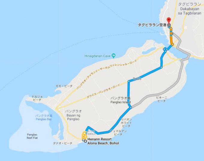 アローナビーチまでの地図
