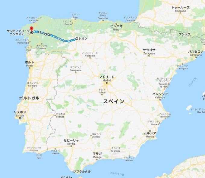カミーノ・デ・サンティアーゴの地図の写真