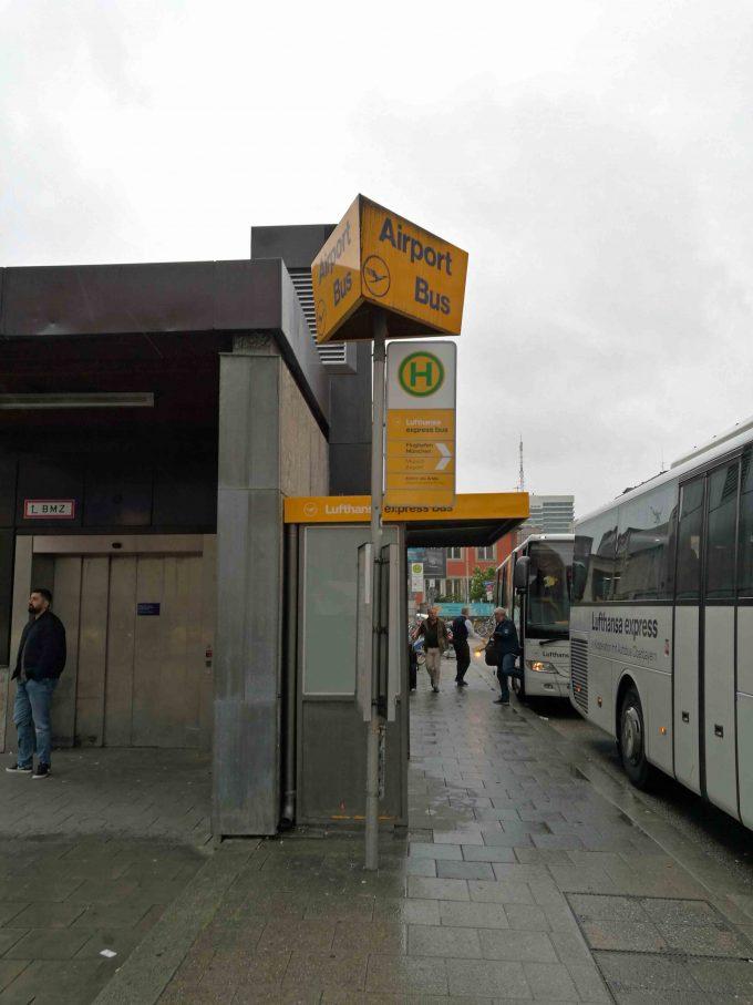 ルフトハンザエアポートバスのミュンヘン中央駅の写真