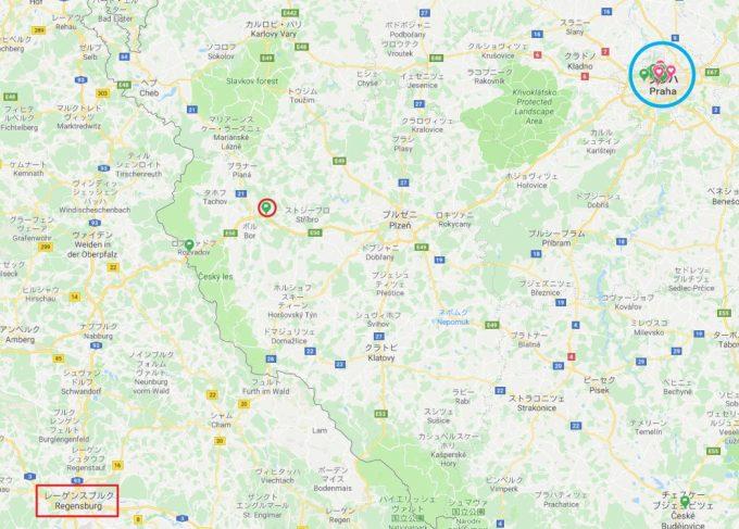 ミュンヘンからプラハまでのバスのトイレ休憩の場所