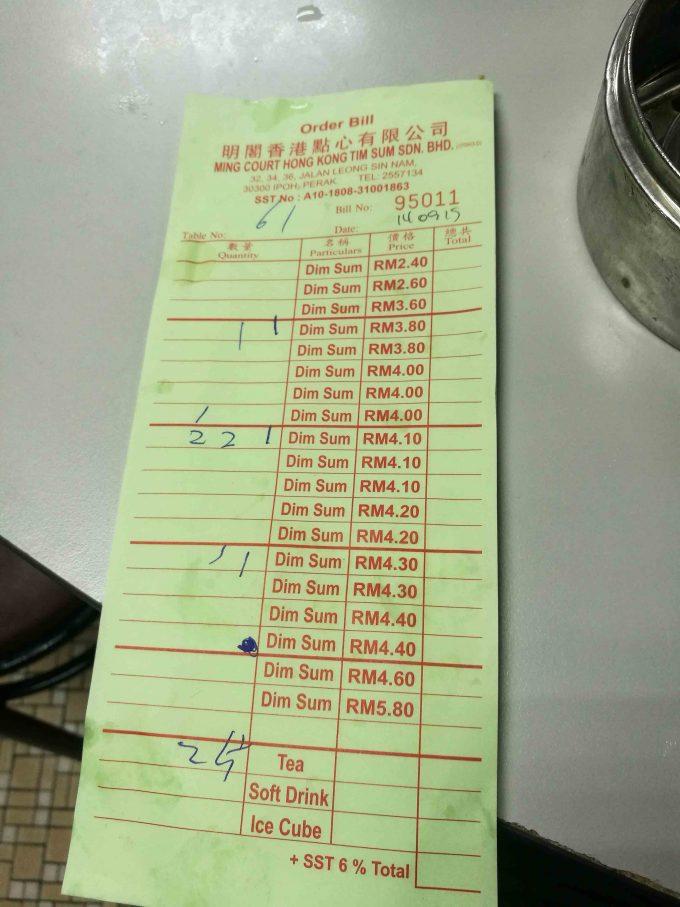 ミンコートの点心の値段表の写真